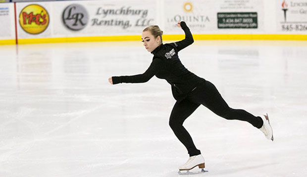 Lady Flames freshman Cheyenne Peterson skates as part of the fifth-place Intermediate Team Maneuvers foursome on Sunday. test test test test