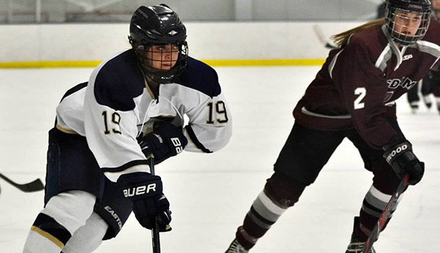 Sophomore defenseman Kjrstin Hoberg (left), from Grand Forks, N.D., is transferring from SUNY of Canton (N.Y.), joining incoming freshman Katie Comeau of Ontario on the back line.  test test test test