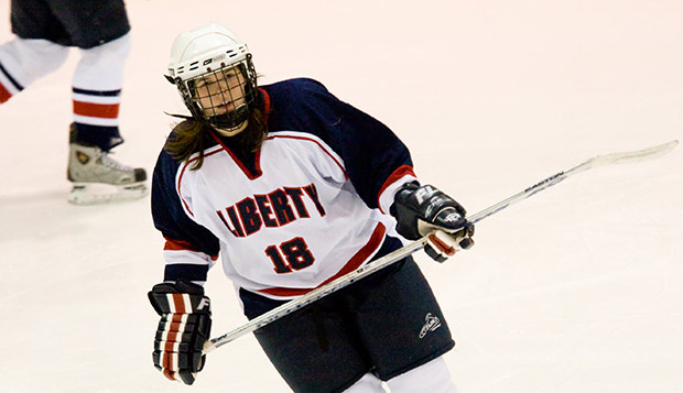 Former Liberty forward Kristin Frescura skates in a game against Rhode Island during her freshman season on Jan. 18, 2008. test test test test