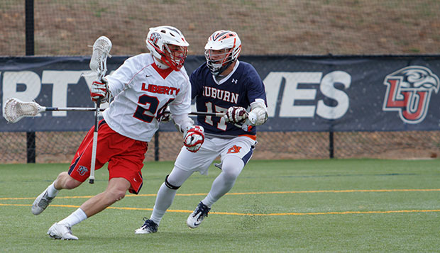 Flames senior attack Kurt Tobias had two goals and two assists in Sunday's 18-4 rout of Auburn on the Liberty Lacrosse Fields. test test test test