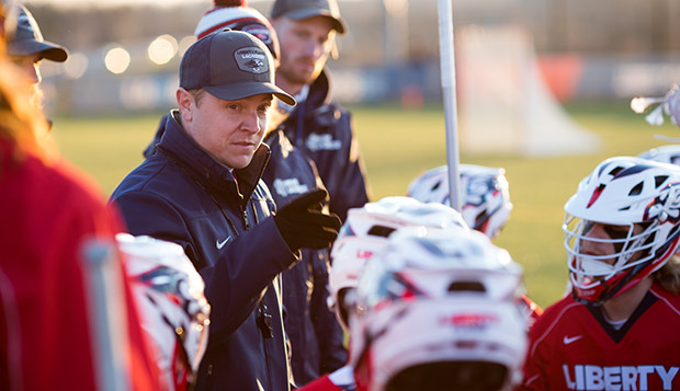 Liberty Head Coach Kyle McQuillan has the Flames ranked in the top 10 for the first time this year. (Photo by Nathan Spencer) test test test test