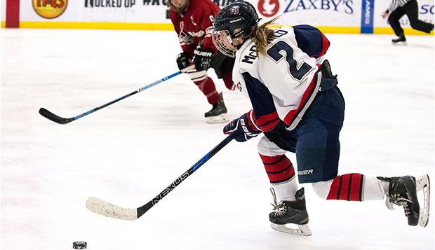 Lady Flames senior forward Lauren McDonald skates in a recent game at the LaHaye Ice Center. (Photo by Joel Isimeme) test test test test