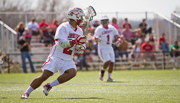 Liberty junior midfielder Derek Haywood scored the tying goal with eight seconds remaining in regulation before netting the game-winner a minute and a half into the overtime period to upend North Dakota State, 12-11. test test test test