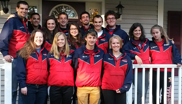 Members of the men's and women's varsity 4 boats sport their new jackets during the weekend trip to Boston. test test test test