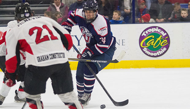 Liberty senior forward and alternate captain Danny Logan skates against Minot State during last season's sweep of the Beavers at the LaHaye Ice Center. test test test test