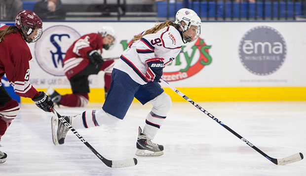 The Lady Flames won all three games against UMass this season, starting with this Oct. 3 clash at the LaHaye Ice Center. test test test test