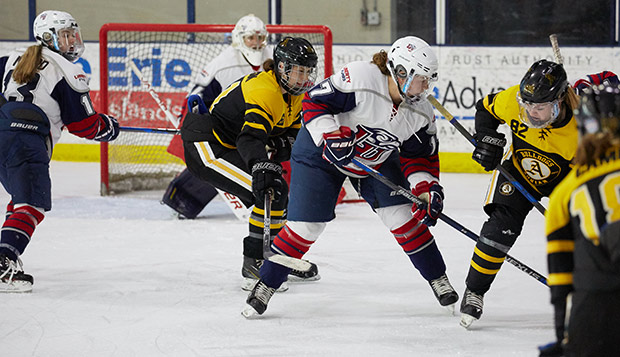 Sophomore forward Alex Smibert scored the winning goal in the Lady Flames' 2-1 triumph over Adrian. (Photo by Joel Coleman) test test test test