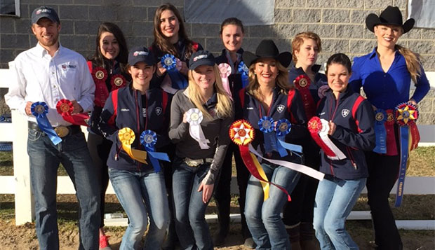 Members of Liberty's western team (from left) that traveled to Campbell: Micah Armbrust, Anna Davidson, Becca Oldham, Michal White, Kari Hicks, Amber Dixon, Avonlea Kisner, Hope Barker, Hannah Peterson, and Kayla Sims.
