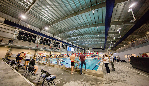 Liberty's men's swim team competed in the second meet held in the new natatorium this past weekend. (Photo by Leah Seavers) test test test test