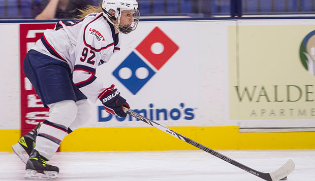 Liberty sophomore Courtney Gilmour, who was recruited from the Hamilton (Ontario) Hawks last year, skates against her former team during Saturday's exhibition game at the LaHaye Ice Center. test test test test