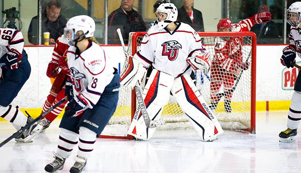 Liberty returns two of three goalies from the 2016-17 season, including Kelly Hutton, who started in the ACHA DI National Championship against Miami (Ohio). (Photo by Leah Seavers)  test test test test