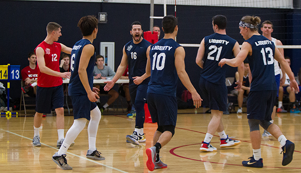 Liberty's DI men's volleyball team upset Penn State in the first round of pool play, but couldn't handle it in the championship rematch. (Photo by Jessie Rogers) test test test test