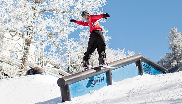 Flames senior Milo Rice competes in a USCSA Southeast Conference Rail Jam competition held earlier this season. test test test test