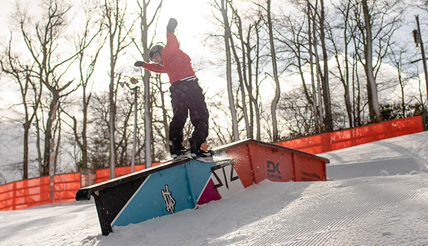 Milo Rice performs a trick on a slopestyle feature at Beech Mountain Resort on Sunday. (Photos courtesy of Skyler Fusco) test test test test