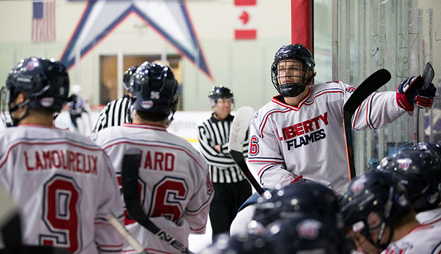 Flames forwards Sam Hisey (right), Paul Lamoureux, and Robert Ward, shown in last season's ACHA DII National Championship game, return to keep the DII attack potent. (Photo by Leah Seavers) test test test test