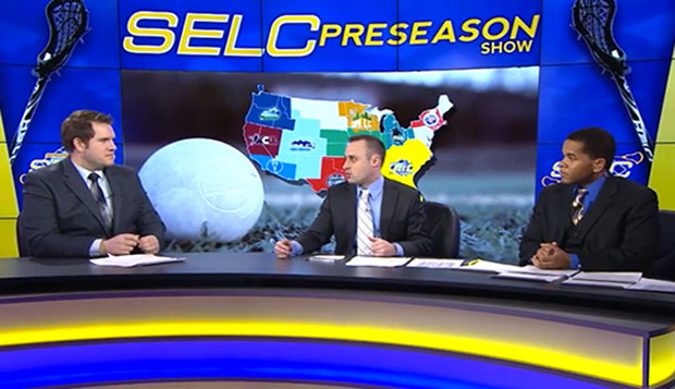 LFSN sports anchor Rett McGibbon (left) with analysts Dave Franklin and Patrick Strawn (right) are shown on the set of the SELC men's lacrosse preseason show, streamed Saturday. test test test test