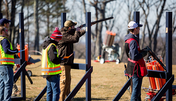 Competitors from Liberty's and JMU's shooting teams fire out of the Five Stand last Saturday. (Photo by Nathan Spencer) test test test test