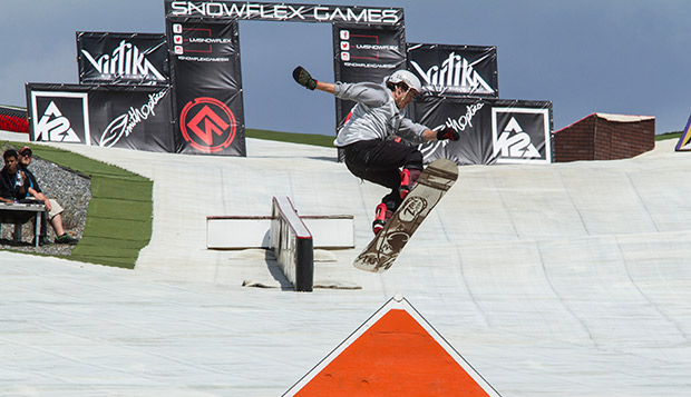 A snowboarder tackles a feature in the Rail Jam during last year's Snowflex Games on Liberty Mountain. test test test test