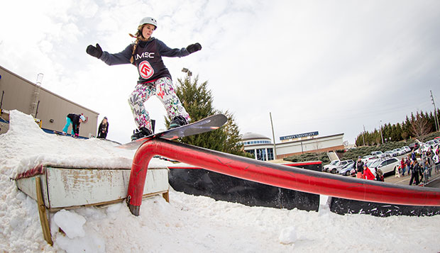 Sydney Beatty, who placed second at the LaHaye Rail Jam during College For A Weekend on Feb. 14, won Saturday's USCSA Southeast Regional slopestyle event at Wintergreen. test test test test