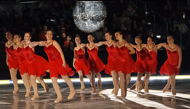 The Lady Flames' synchronized skating team participated in the second Christmas performance of PraiseFest on Ice in December at the LaHaye Ice Center.  test test test test