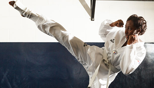 Tykeyah Henderson picked up tae kwon do at Liberty after previous experience in boxing and karate. test test test test