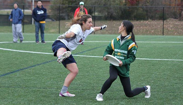 Liberty junior Keziah Lewellyn (left) applies defensive coverage on a George Mason player in Sunday's final, a 12-6 triumph. test test test test