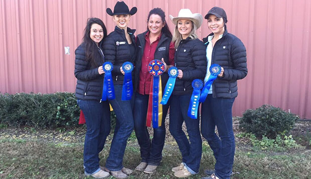 Western riders earning blue ribbons over the weekend included (from left) Anna Davidson, Kayla Sims, coach Lauren Eagles (holding the Champion Team ribbon), Avolea Kisner, and Anya Devan, who had two first-place finishes.