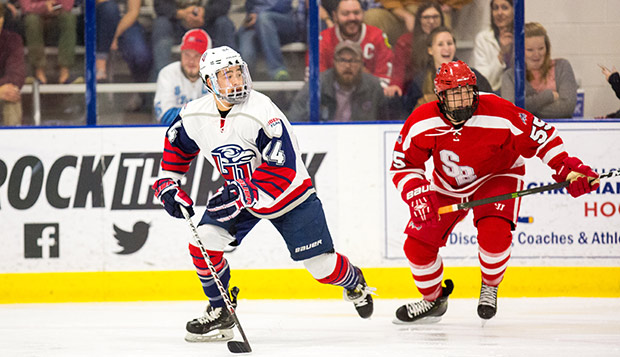 Flames junior forward Zechariah Roberts (left), shown in a Nov. 3 game against Stony Brook, scored the winning goal in Saturday night's rematch at NYU. (Photo by Andrew Snyder)  test test test test