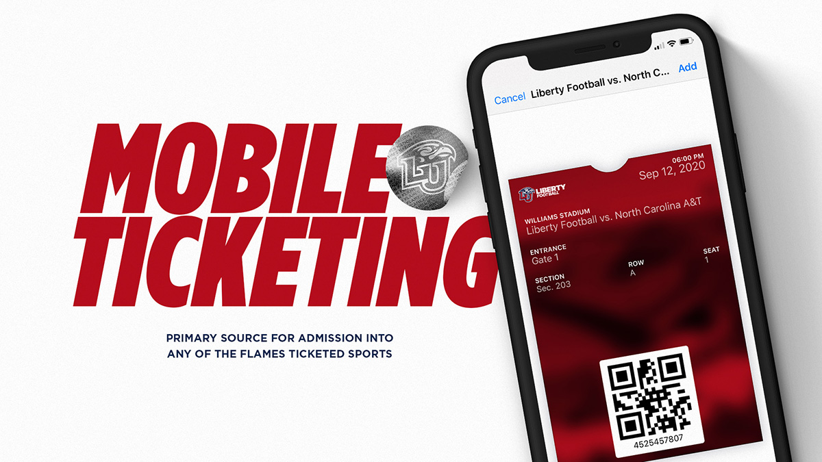 Beginning this football season, Liberty Athletics is excited to announce that mobile ticketing will be the primary source for admission into Flames home events.