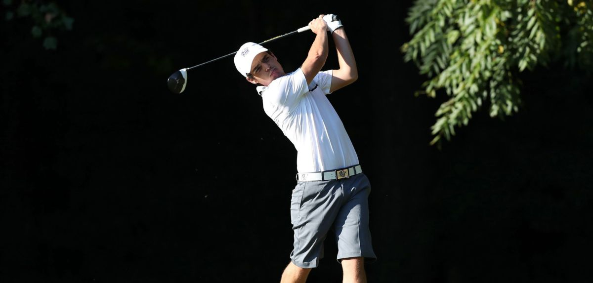 Alexandre Fuchs (pictured) and Isaiah Logue are tied for 10th place following the first round of the 2018 Big South Men's Golf Championship.