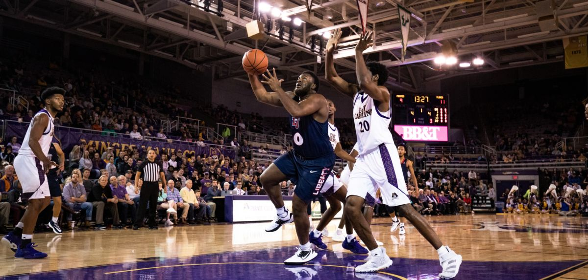 Myo Baxter-Bell scored six points in Liberty's 77-57 win over East Carolina.