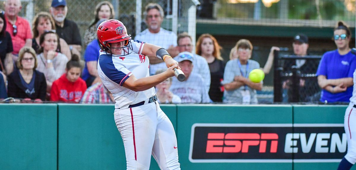 Amber Bishop hit two homers against South Carolina, including a walk-off blast to give Liberty the 6-5 win.