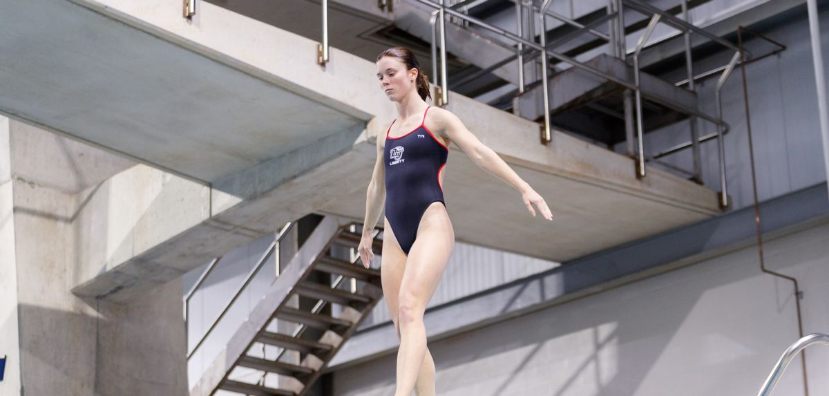 Abigail Egolf-Jensen finished fifth in one-meter diving on day one at the Navy Diving Invitational.