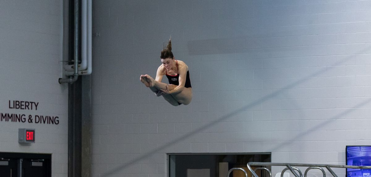 Abigail Egolf-Jensen finished 35th in one-meter diving prelims on Monday at NCAA Zone Championships.