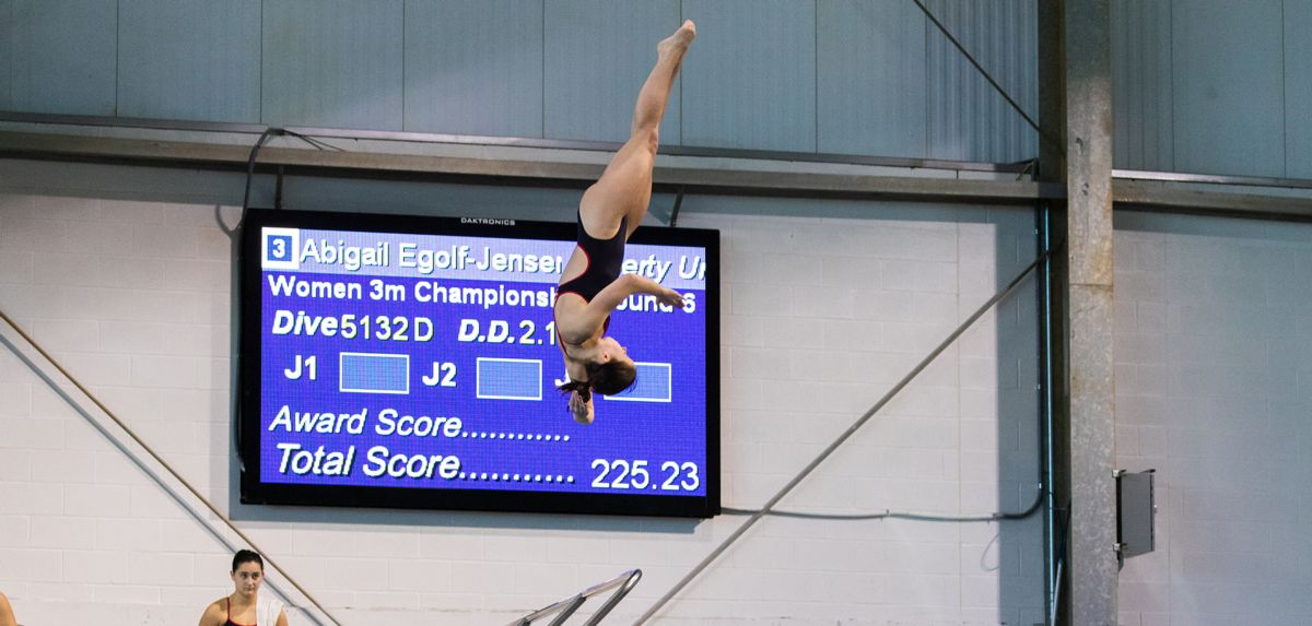 Abigail Egolf-Jensen finished her season by competing on three-meter diving at NCAA Zone Diving Championships.