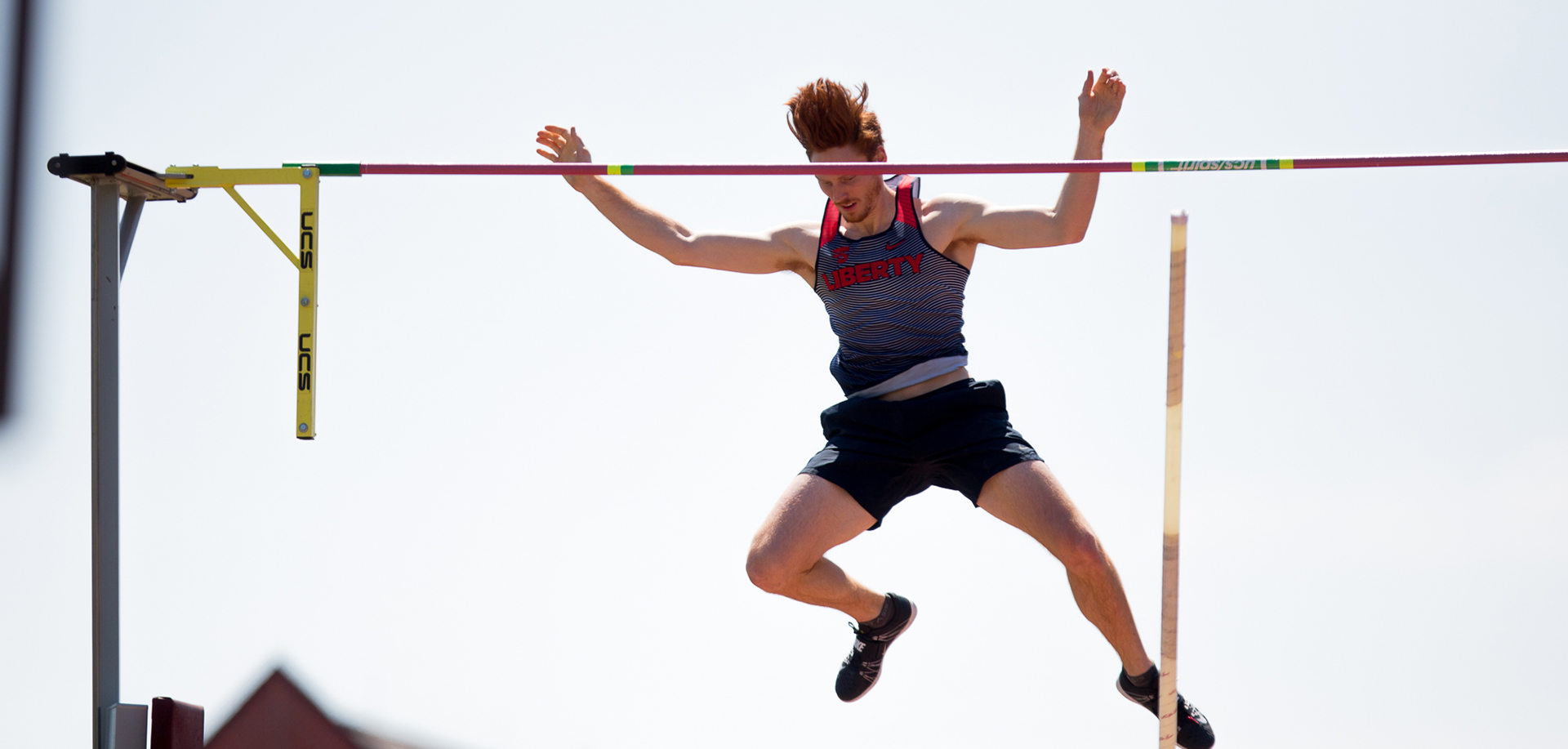 Carson Waters celebrates his meet-record pole vault clearance of 17-0.75 on Saturday.
