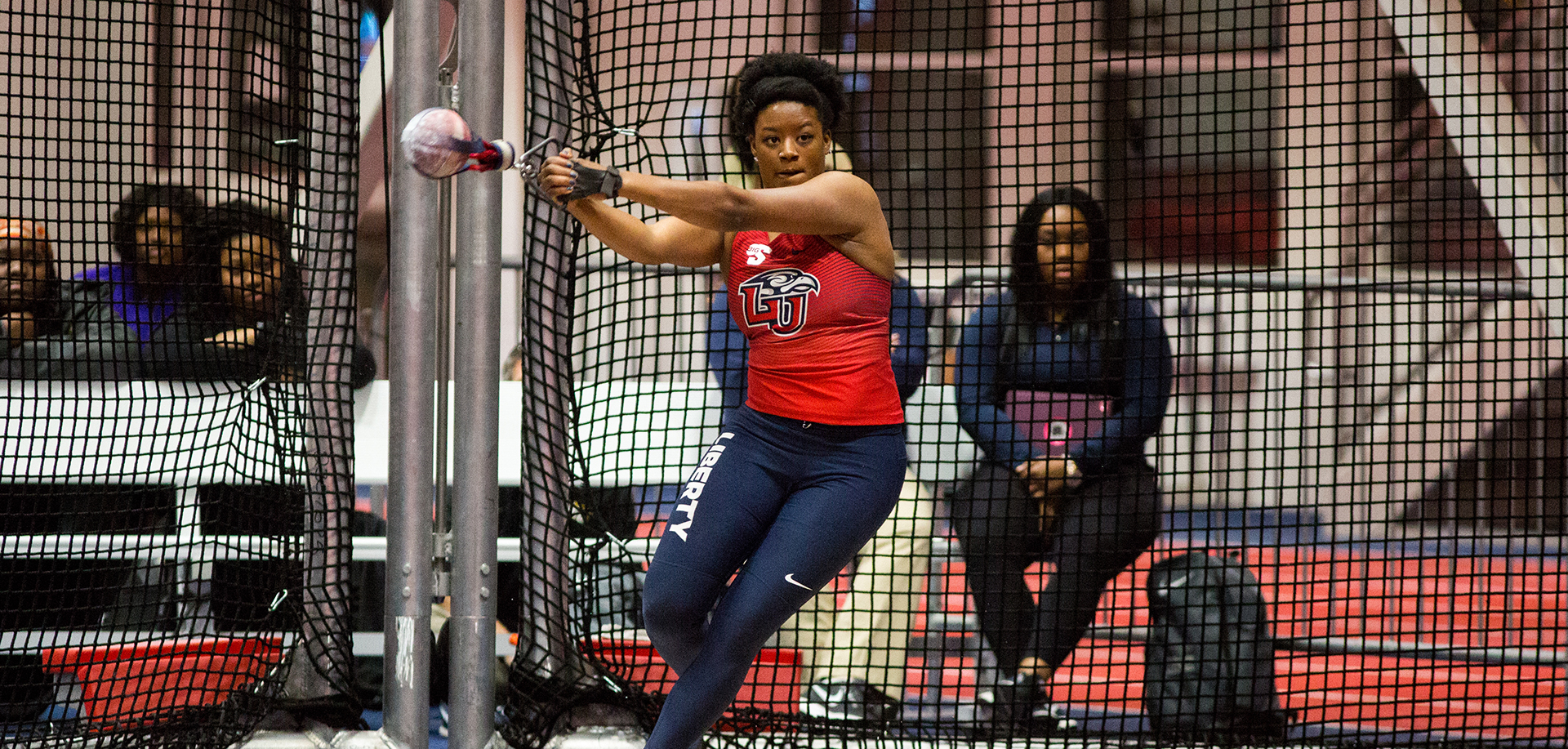 Dasiana Larson placed third in the women's weight throw with a personal-best heave of 62-3. The junior now ranks No. 6 in Big South Conference history.