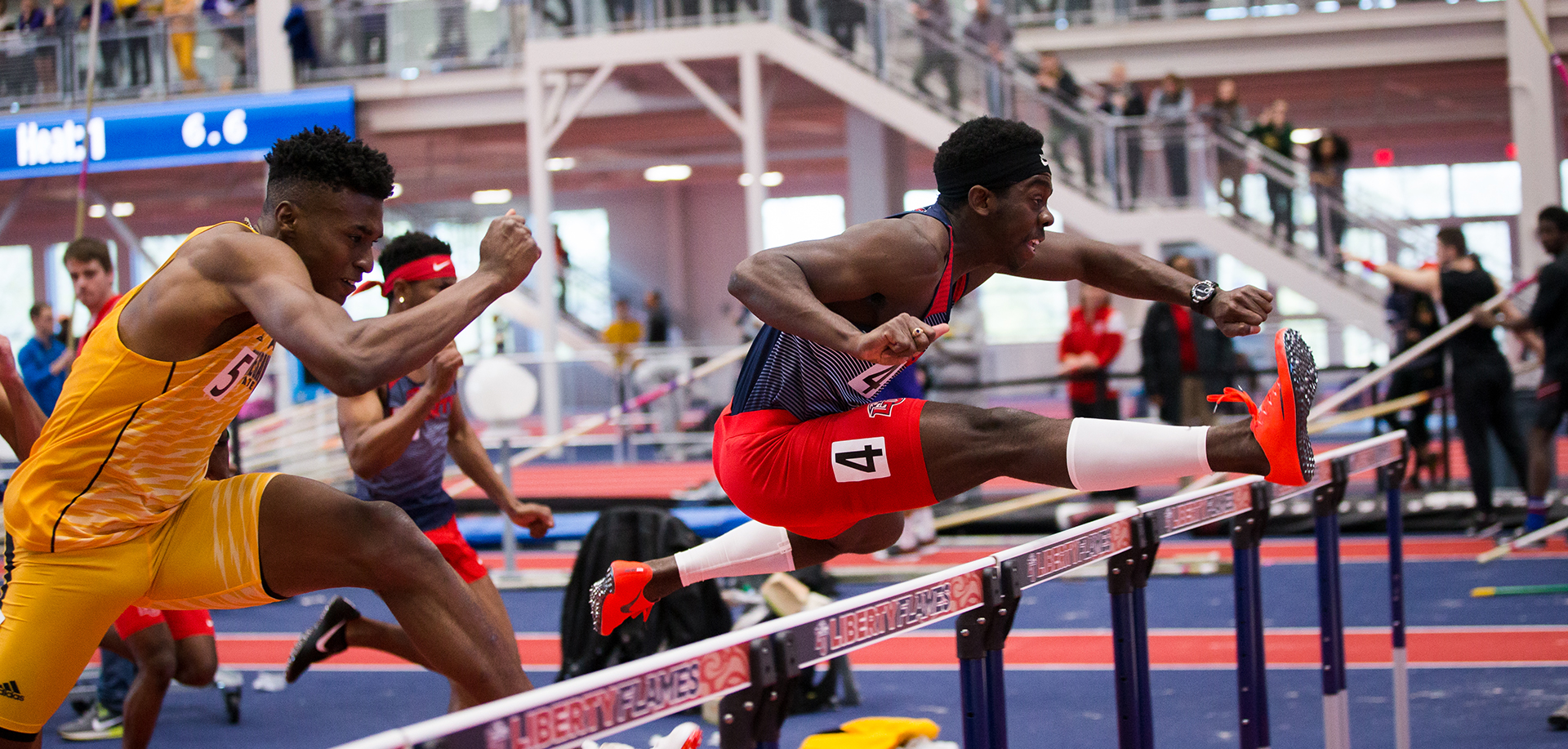 Jovaine Atkinson ran a Liberty-record 110 hurdles time of 14.01 seconds at the Gamecock Invitational on Saturday.