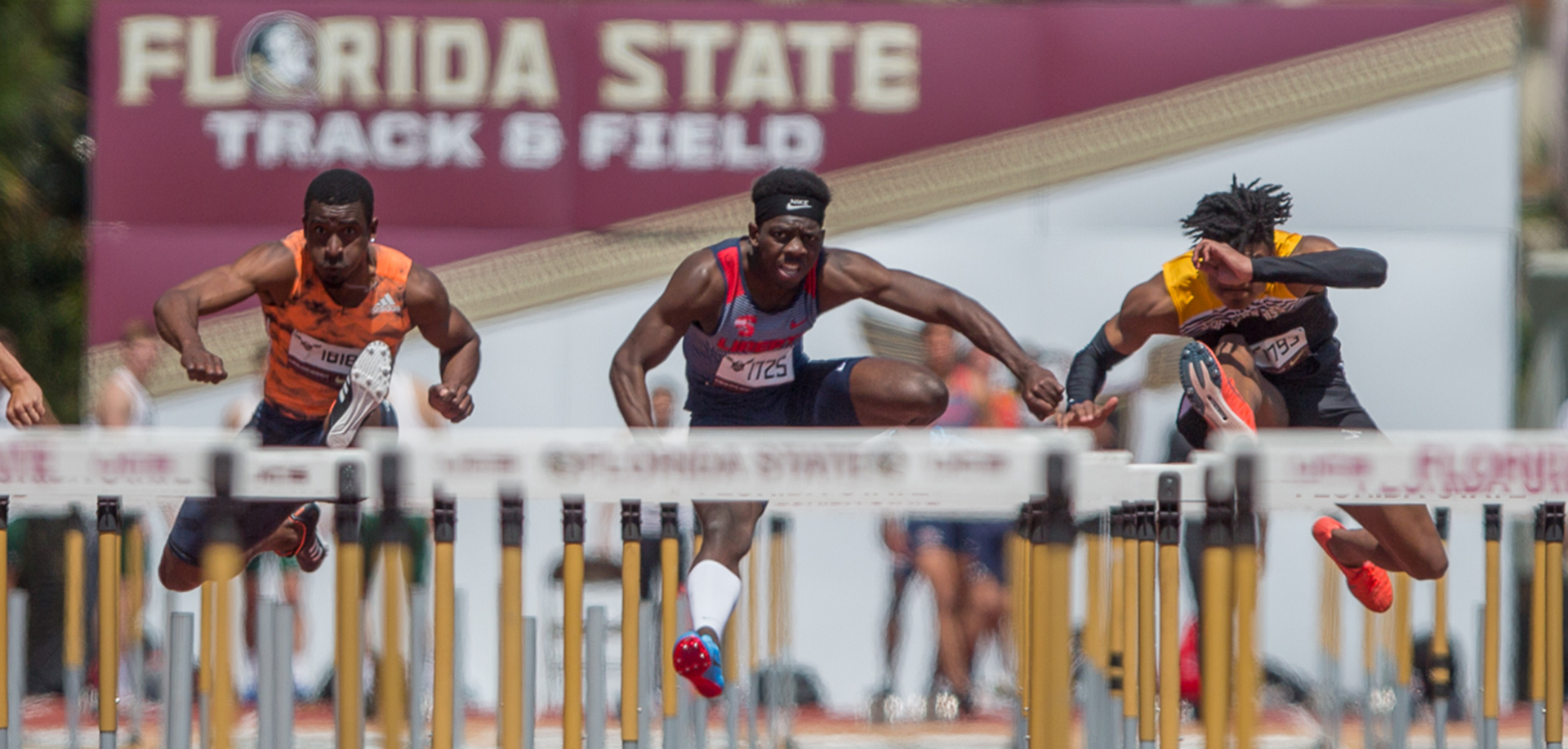Jovaine Atkinson's school-record time of 13.93 earned a spot in the NCAA men's 110 hurdles quarterfinals. (Photo Courtesy Cheryl Treworgy/Pretty Sporty)