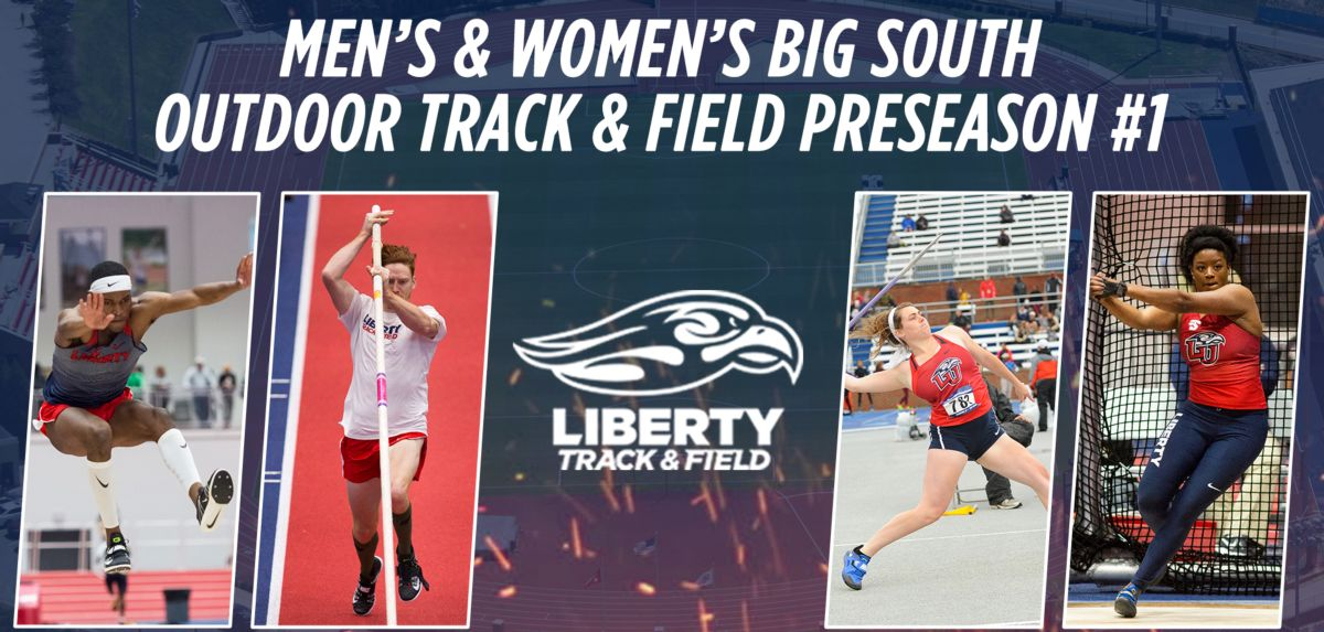 (L-R): Liberty's seniors who won 2017 Big South outdoor event titles include Darrel Jones, Carson Waters, Brenna Smith and Dasiana Larson.