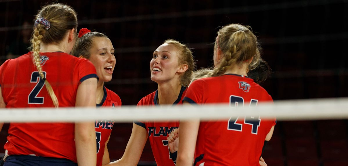 Casey Goodwin (middle) was named ASUN Volleyball Player of the Week.