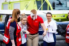 Nursing and aviation students practice crisis response skills in simulated plane crash event