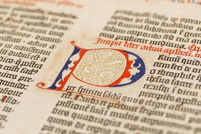 Page from original Gutenberg Bible on display at Liberty University museum
